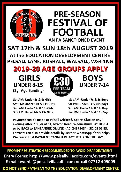 Pelsall Villa Colts FC Tournament 2019
